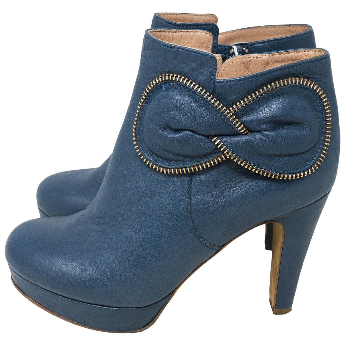 See By Chloé \N Blue Leather Ankle boots for Women 37.5 IT