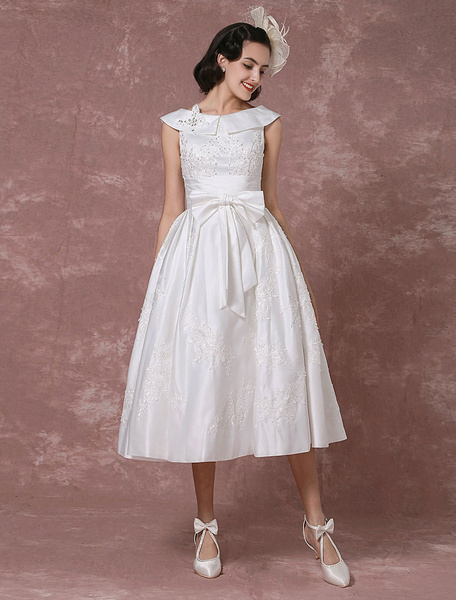 Milanoo Vintage Wedding Dress Satin Short Bridal Gown Lace Beading Tea Length Reception Bridal Dress Detachable Bow Sash