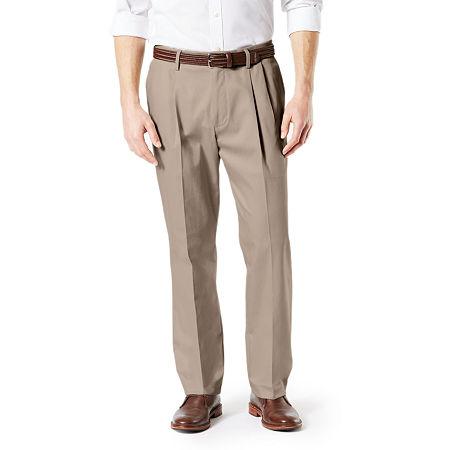 Dockers Big & Tall Classic Fit Signature Khaki Lux Cotton Stretch Pants - Pleated D3, 34 38, Beige