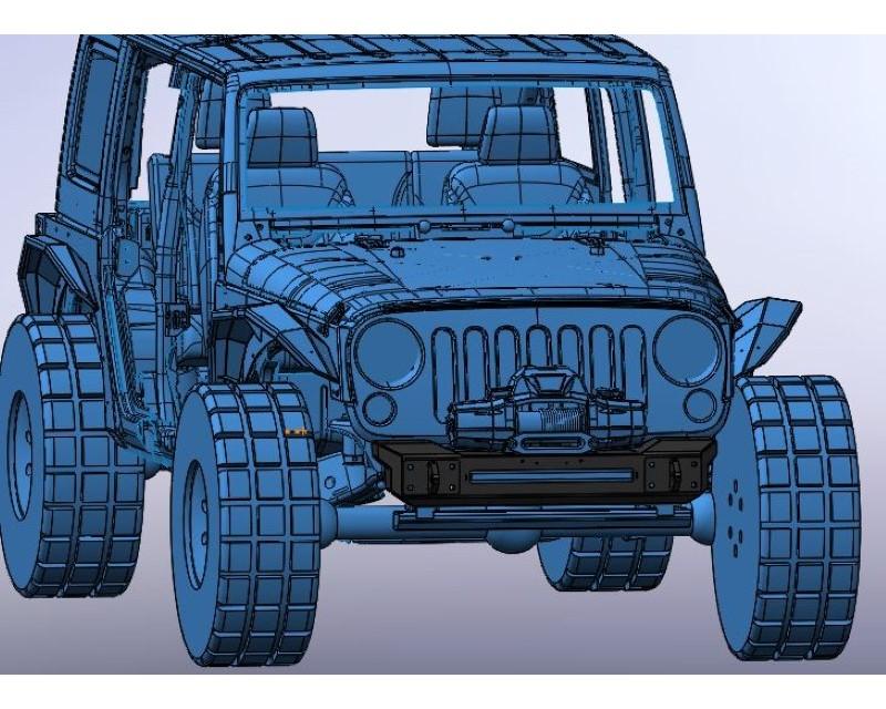 Hammerhead Armor 600-56-0701 Jeep JK Front Winch Bumper Minimalist No Brushguard For 07-18 Wrangler JK Black Steel