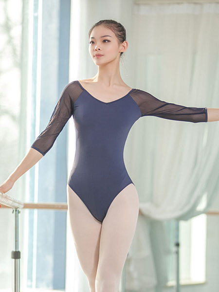 Milanoo Ballet Dance Costumes Black Woman Semi Sheer Performance Wear Halloween