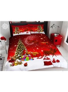 Christmas Gifts Christmas Bedding 3D Printed 4-Piece Polyester Bedding Sets/Duvet Covers