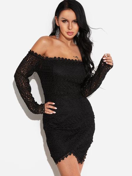 Yoins Black Off Shoulder Lace Wrap Dress