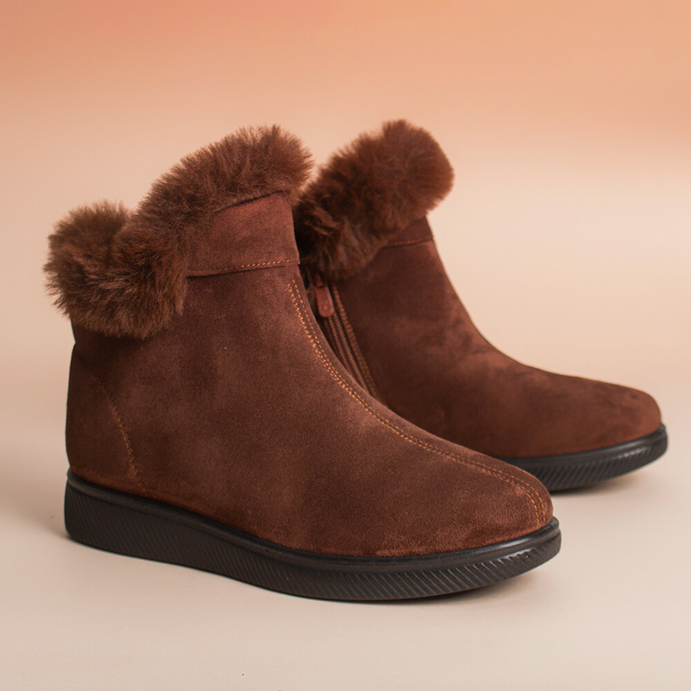 Women Warm Comfy Suede Round Toe Plush Zipper Ankle Flat Boots