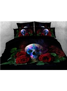 Skull with Red Roses Printed 3D 4-Piece Bedding Sets/Duvet Covers