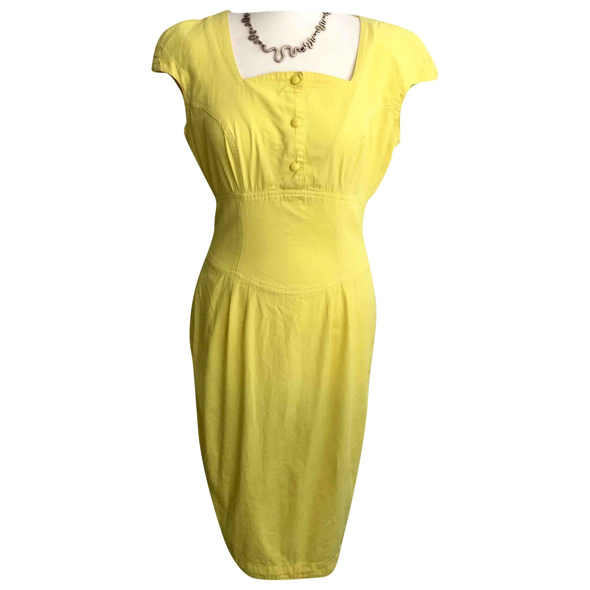 Thierry Mugler \N Yellow Cotton dress for Women 44 IT