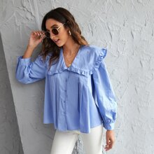 Frill Trim Button Up Blouse