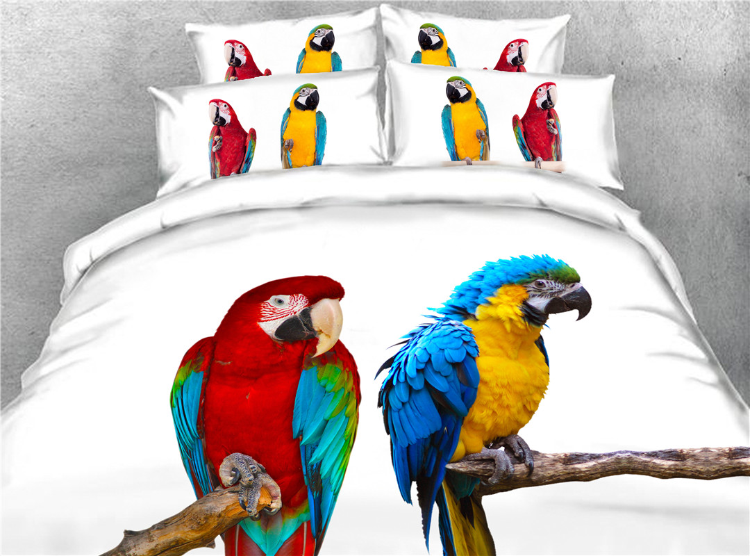 Two Parrot Four-Piece Set Hand Wash Duvet Cover Set Polyester Bedding Sets