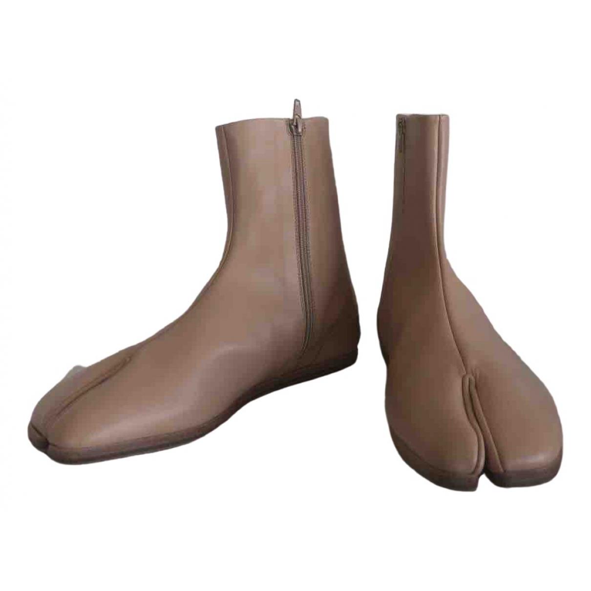 Maison Martin Margiela Tabi Beige Leather Boots for Men 42 EU