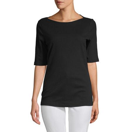 St. John's Bay-Womens Boat Neck Elbow Sleeve T-Shirt, X-large , Black