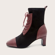 Lace-up Front Two Tone Chunky Heeled Boots