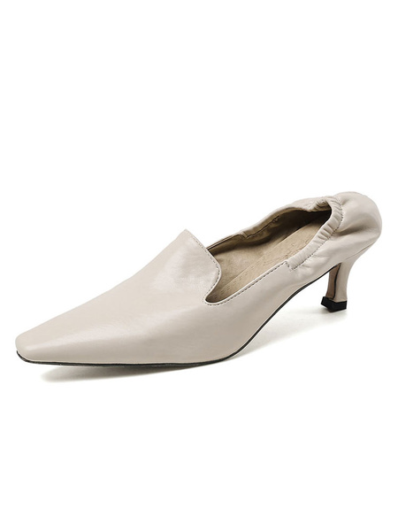 Milanoo Women\'s Mid-Low Heels Vintage Shoes Square Toe Kitten Heel Black Pumps