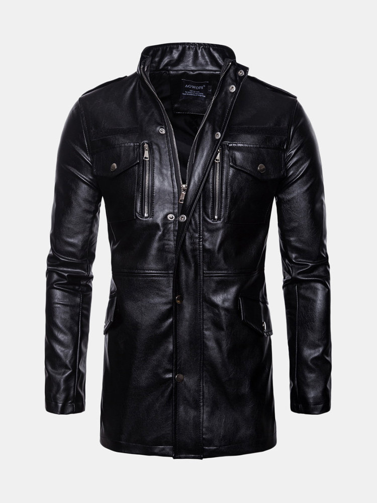 Mens Mid-Length PU Leather Multi Pockets Stand Collar Casual Motorcycle Jacket