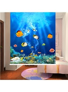 Colored Tropical Fish Swimming in the Deep Sea 3D Printing Blackout Roller Shades