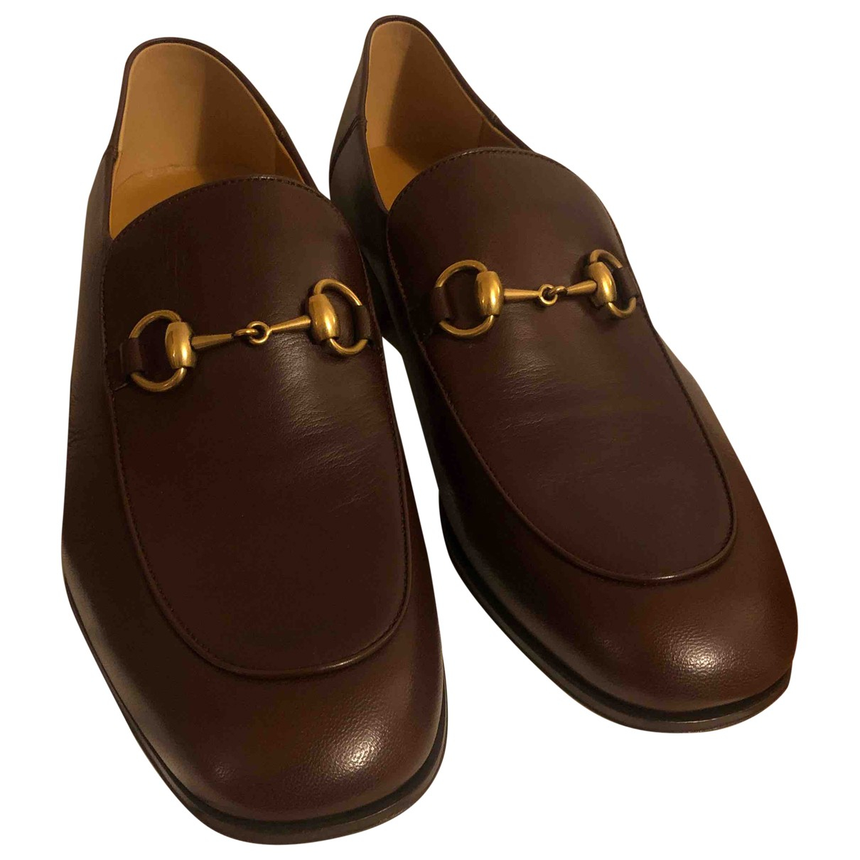 Gucci \N Brown Leather Flats for Men 43.5 EU