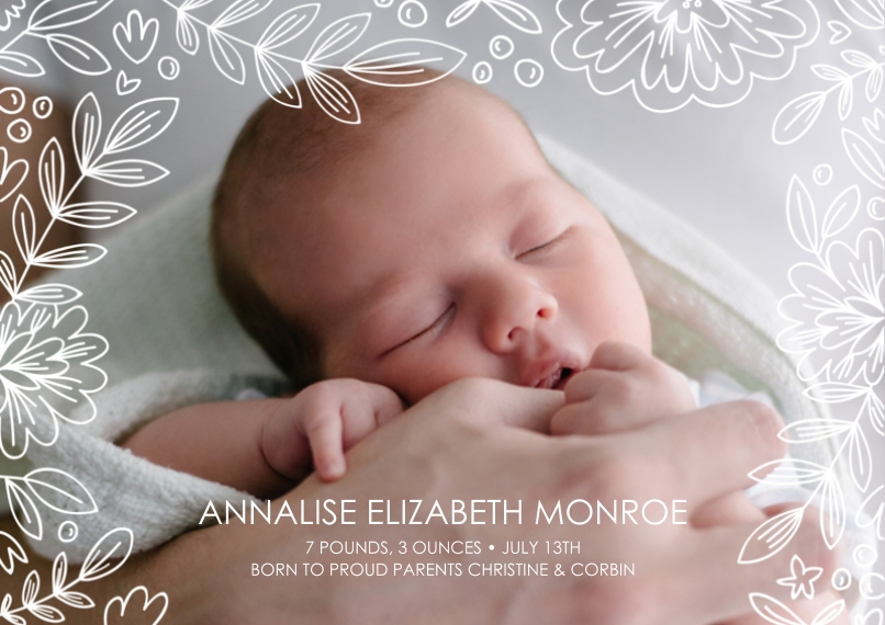 Newborn Flat Glossy Photo Paper Cards with Envelopes, 5x7, Card & Stationery -Branches & Berries Beauty