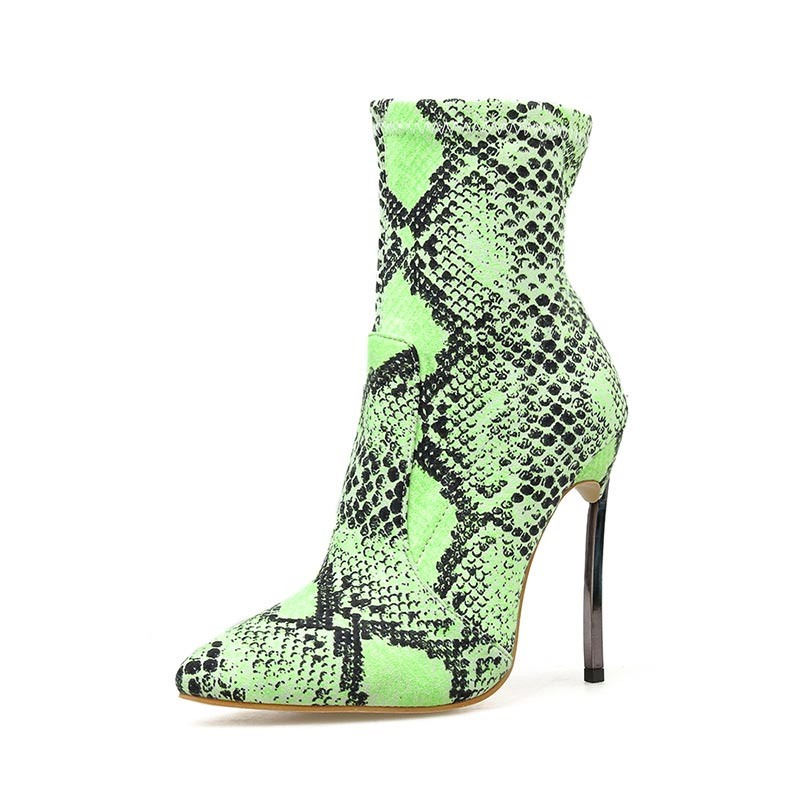 Ericdress Serpentine Color Block Stiletto Heel Pointed Toe Women's Ankle Boots