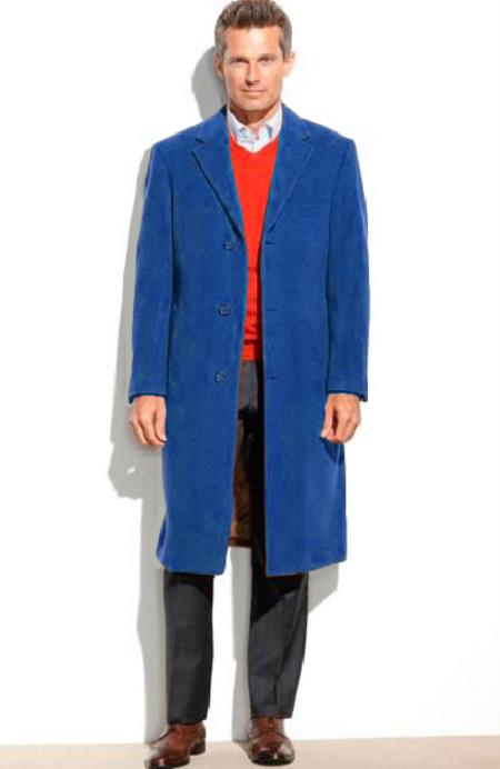 Mens 3Button 0.65Wool Length Topcoat(Cashmere Touch(not cashmere))Navy