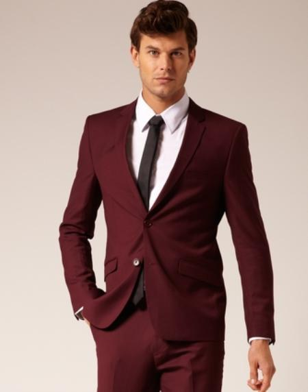 Mens 2 Button Style SuitBurgundy flat front pants