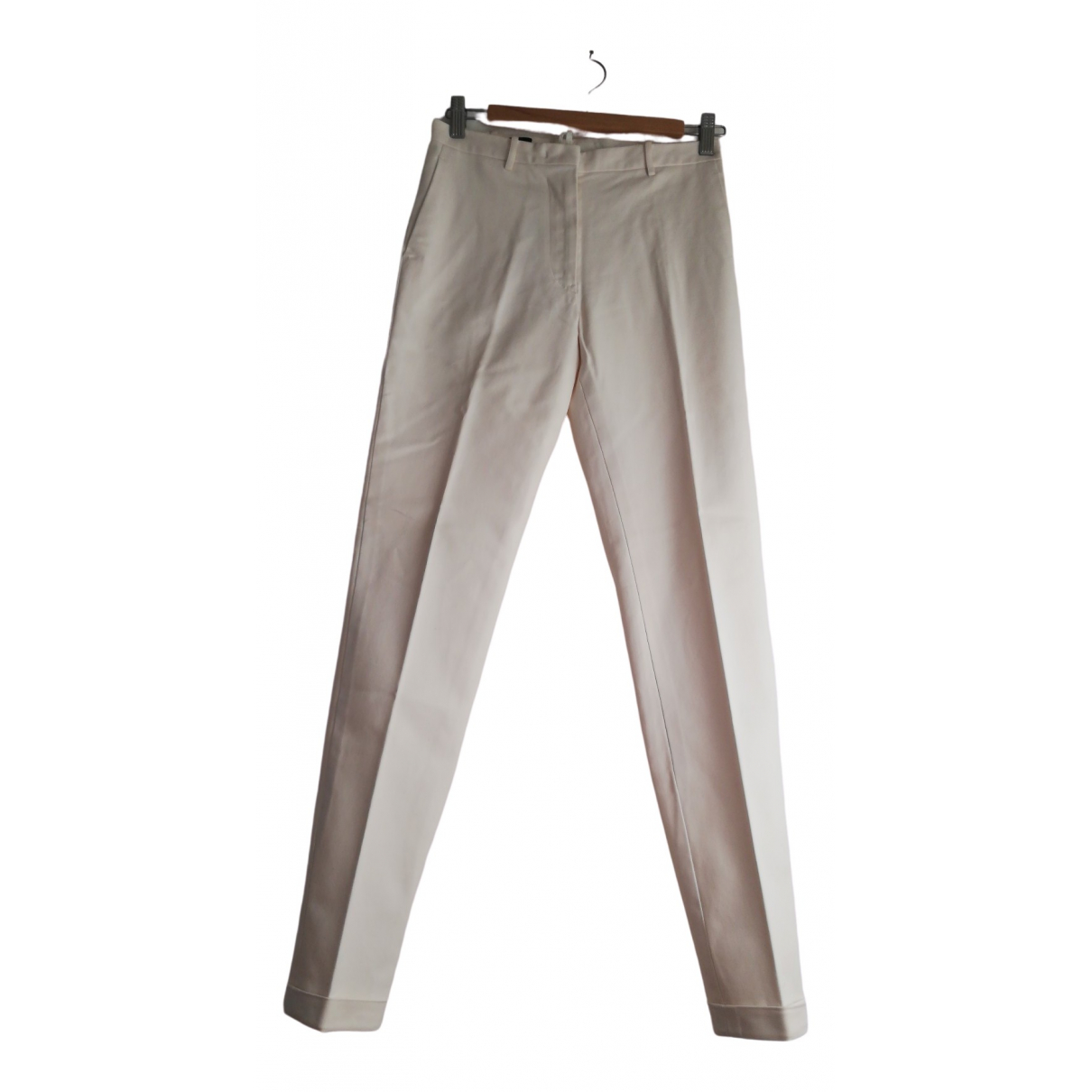 Jil Sander \N Ecru Cotton Trousers for Women 34 FR