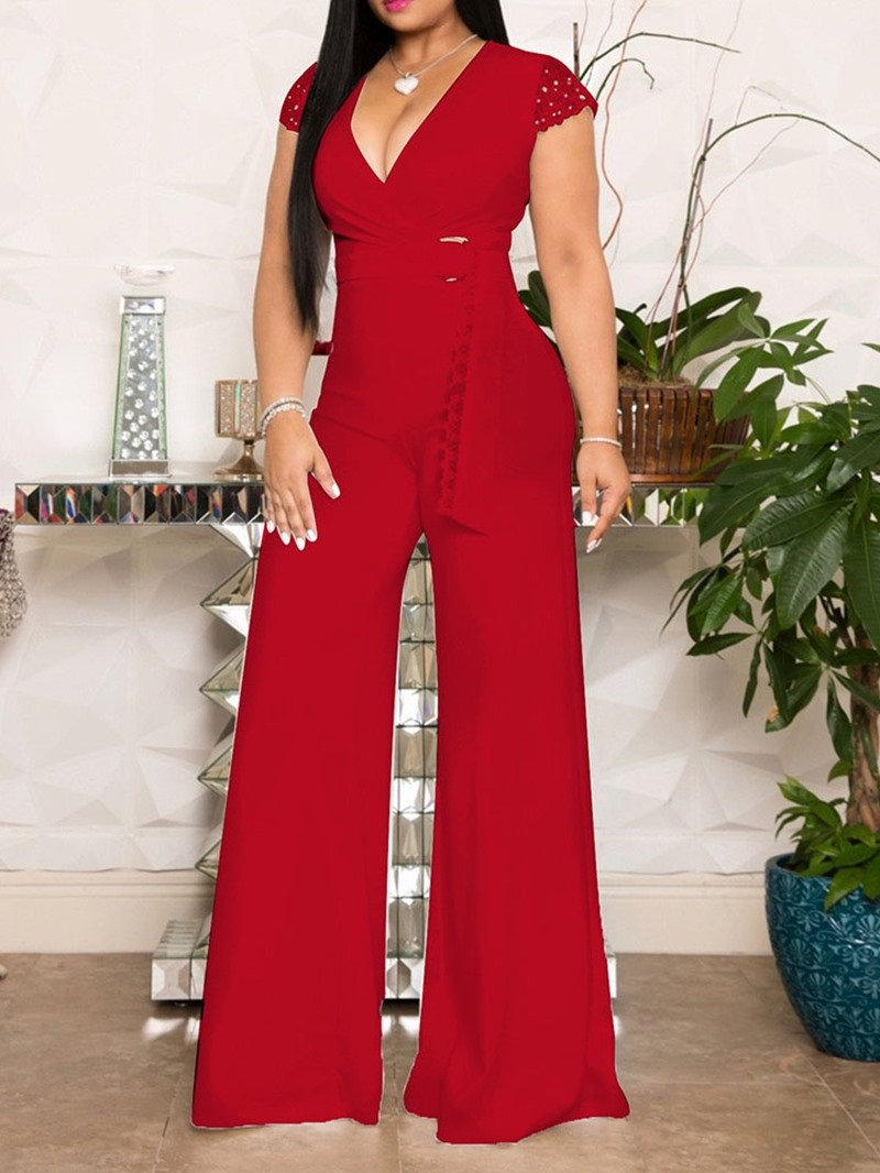 Ericdress Plain Belt Casual Loose High Waist Jumpsuit