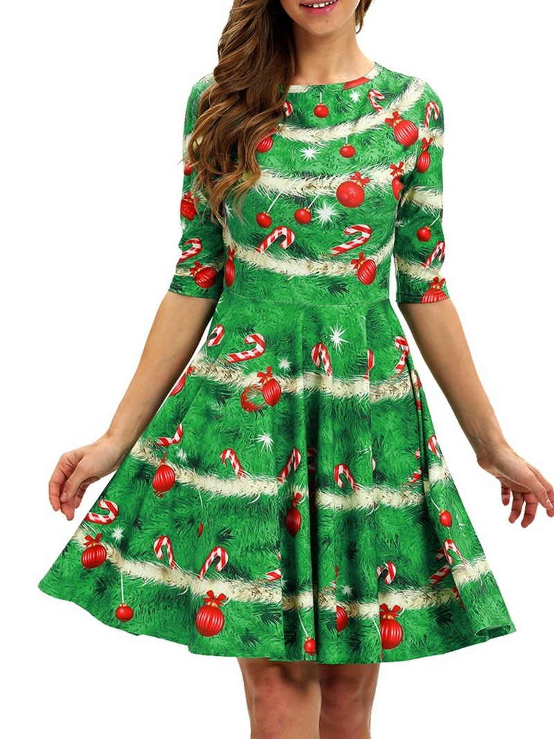Ericdress Christmas Round Neck Half Sleeve Above Knee Summer Party/Cocktail Dress