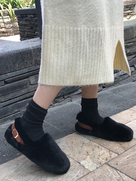 Milanoo Women Plush Loafers Faux Fur Round Toe Comfy Shoes