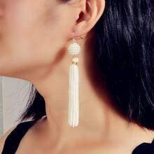 Faux Pearl Decor Tassel Drop Earrings