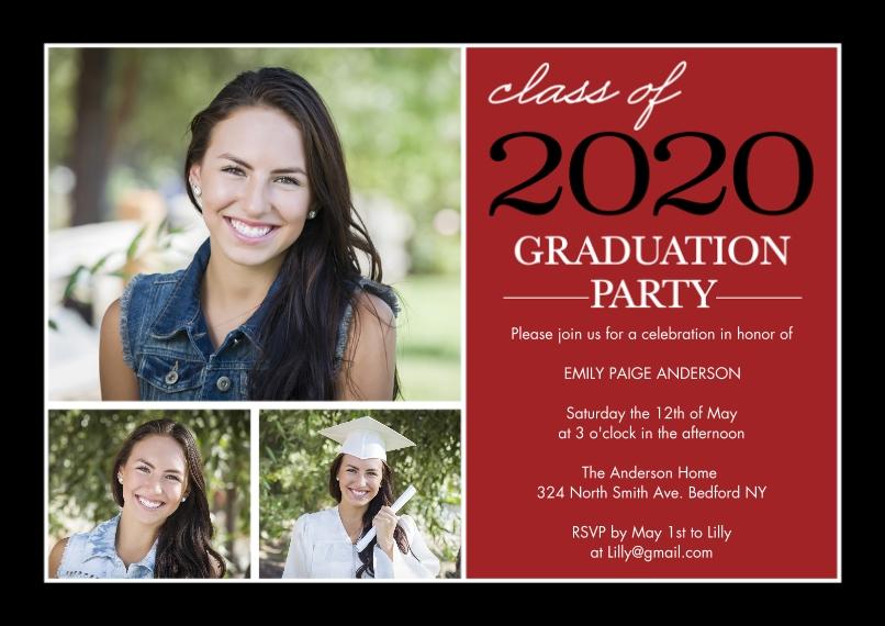 2020 Graduation Invitations Flat Glossy Photo Paper Cards with Envelopes, 5x7, Card & Stationery -Graduation Invite Stack 2020 by Tumbalina