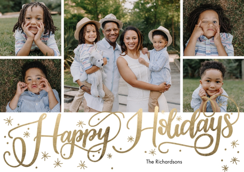 Holiday Photo Cards 5x7 Cards, Premium Cardstock 120lb with Rounded Corners, Card & Stationery -Holiday Scattered Stars by Tumbalina