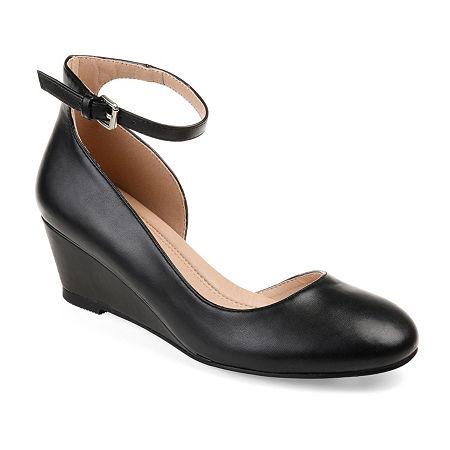 Journee Collection Womens Seely Pumps Buckle Round Toe Wedge Heel, 7 Medium, Black