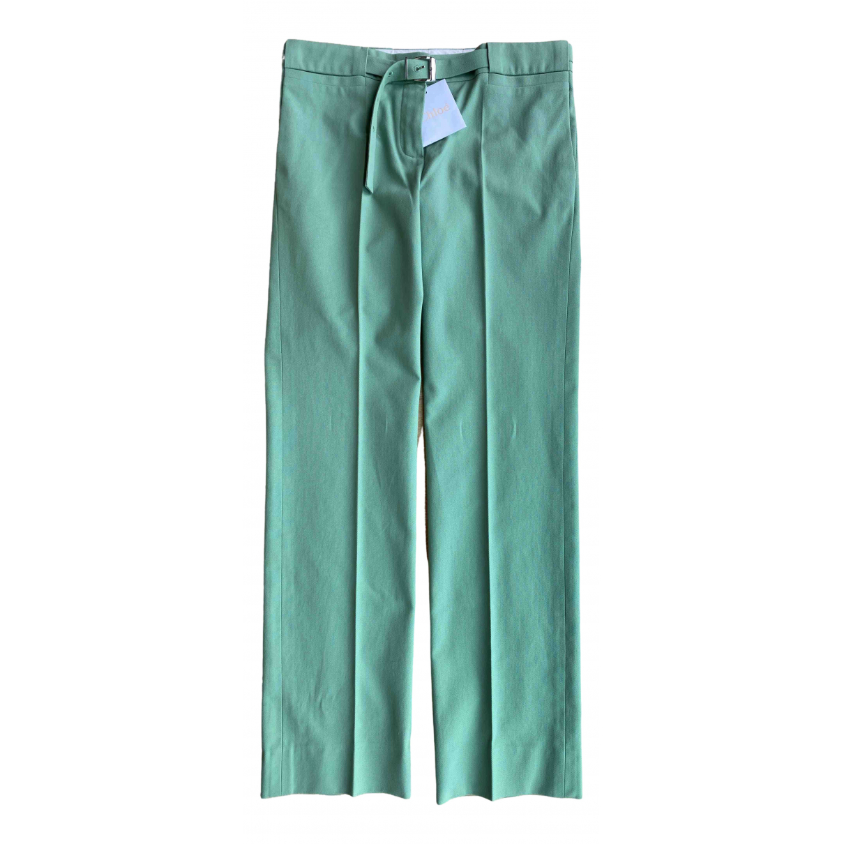 Chloé \N Green Cotton Trousers for Women 40 FR