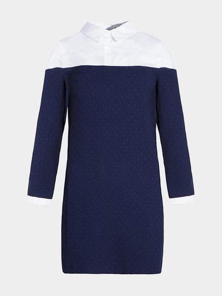 Yoins Stitching Long Sleeves Shirt Dress with Polka Dot Print