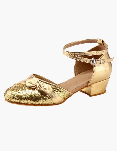 Milanoo Ankle Strap Glitter Latin Dance Shoes