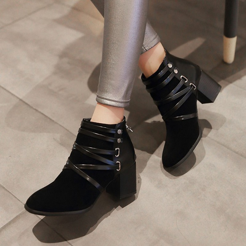 Ericdress Chunky Heel Back Zip Round Toe Cross Strap Boots