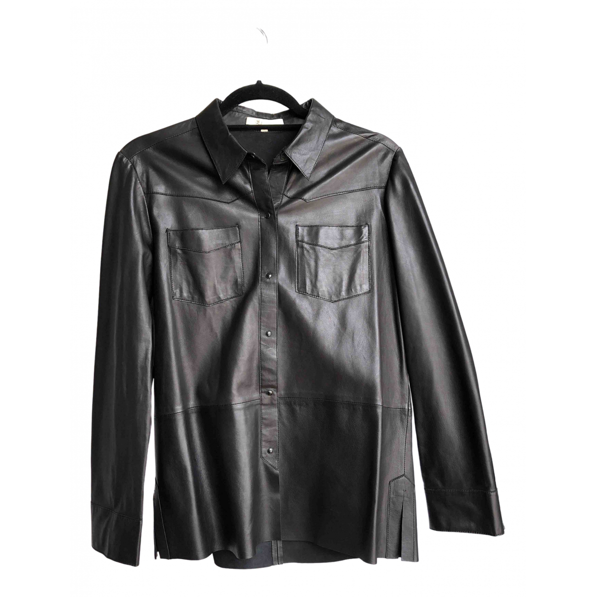 Maje \N Black Leather  top for Women 3 0-5