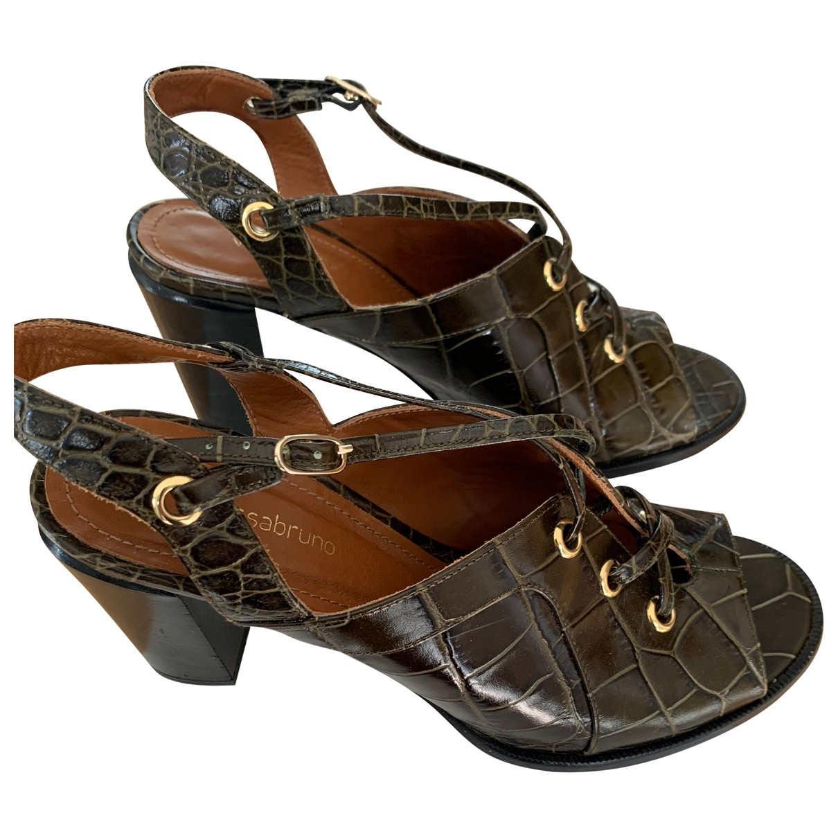 Vanessa Bruno \N Khaki Leather Sandals for Women 40 EU