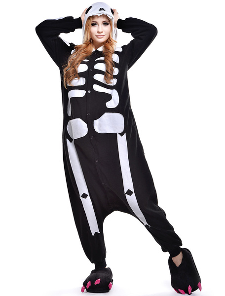 Milanoo Kigurumi Pajamas Skeleton Onesie For Adult Unisex Fleece Flannel Halloween Costume Halloween
