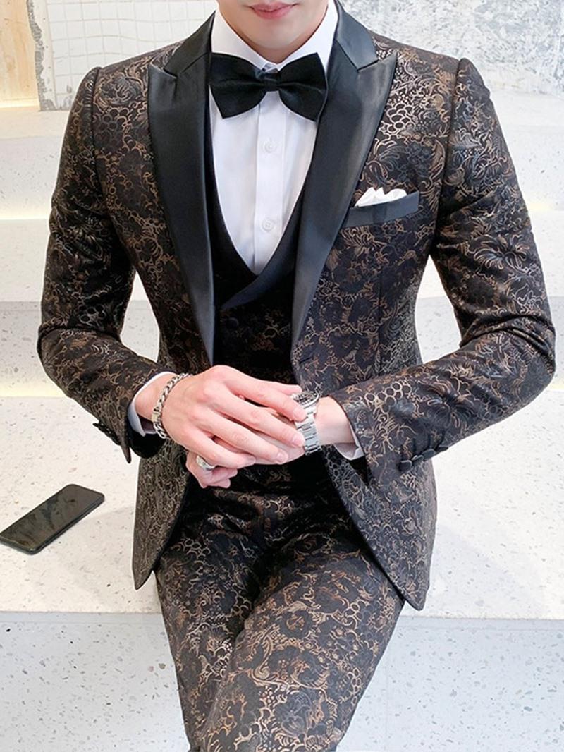 Ericdress Blazer Button Color Block Men's Dress Suit