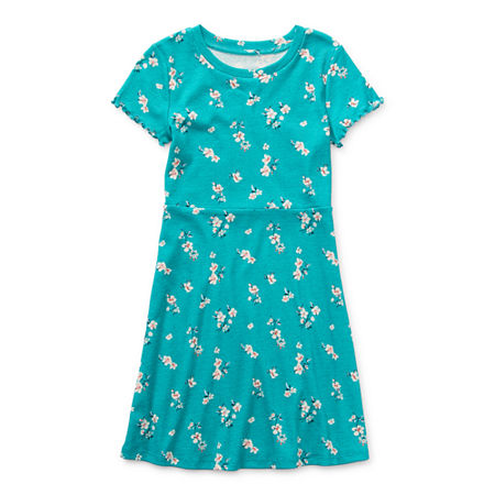 Arizona Little & Big Girls Short Sleeve Skater Dress, Small (7-8) , Green
