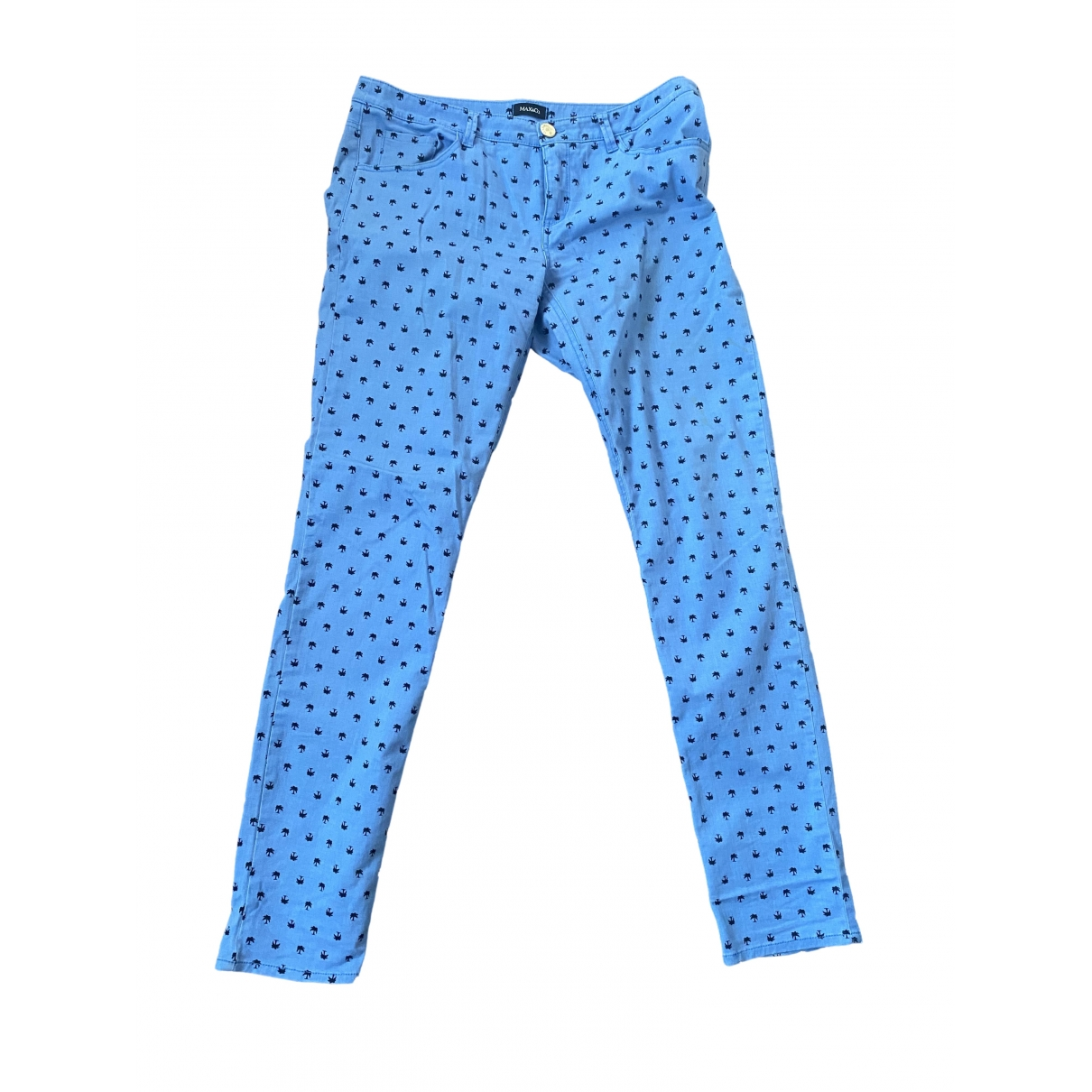 Max & Co \N Blue Cotton Trousers for Women 46 IT