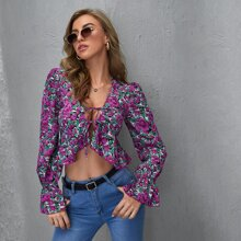 Tie Front Ruffle Hem Ditsy Floral Top