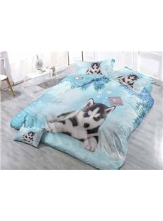 Lovely Husky Wear-resistant Breathable High Quality 60s Cotton 4-Piece 3D Bedding Sets
