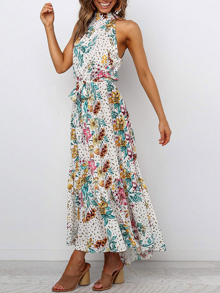 Milanoo Floral Maxi Dress Sleeveless White Printed Jewel Neck Summer Dress