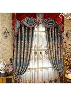 Noble and Classical High Quality Polyester Blackout 2 Panels Living Room Custom Sheer Curtain