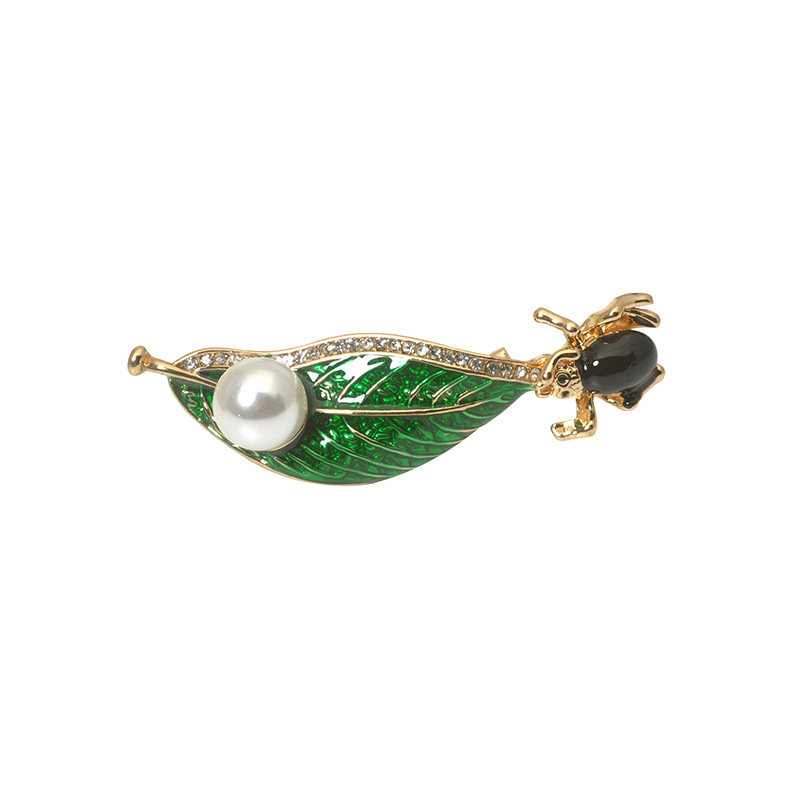 Trendy Insect on the Green Leaf Enamel Pearl Brooches Clothing Jewelry Accessories for Women