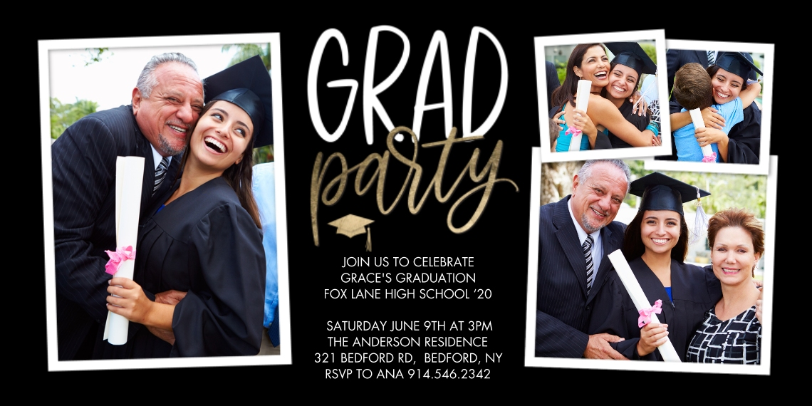 2020 Graduation Invitations Flat Matte Photo Paper Cards with Envelopes, 4x8, Card & Stationery -Grad Party Golden Cap by Tumbalina