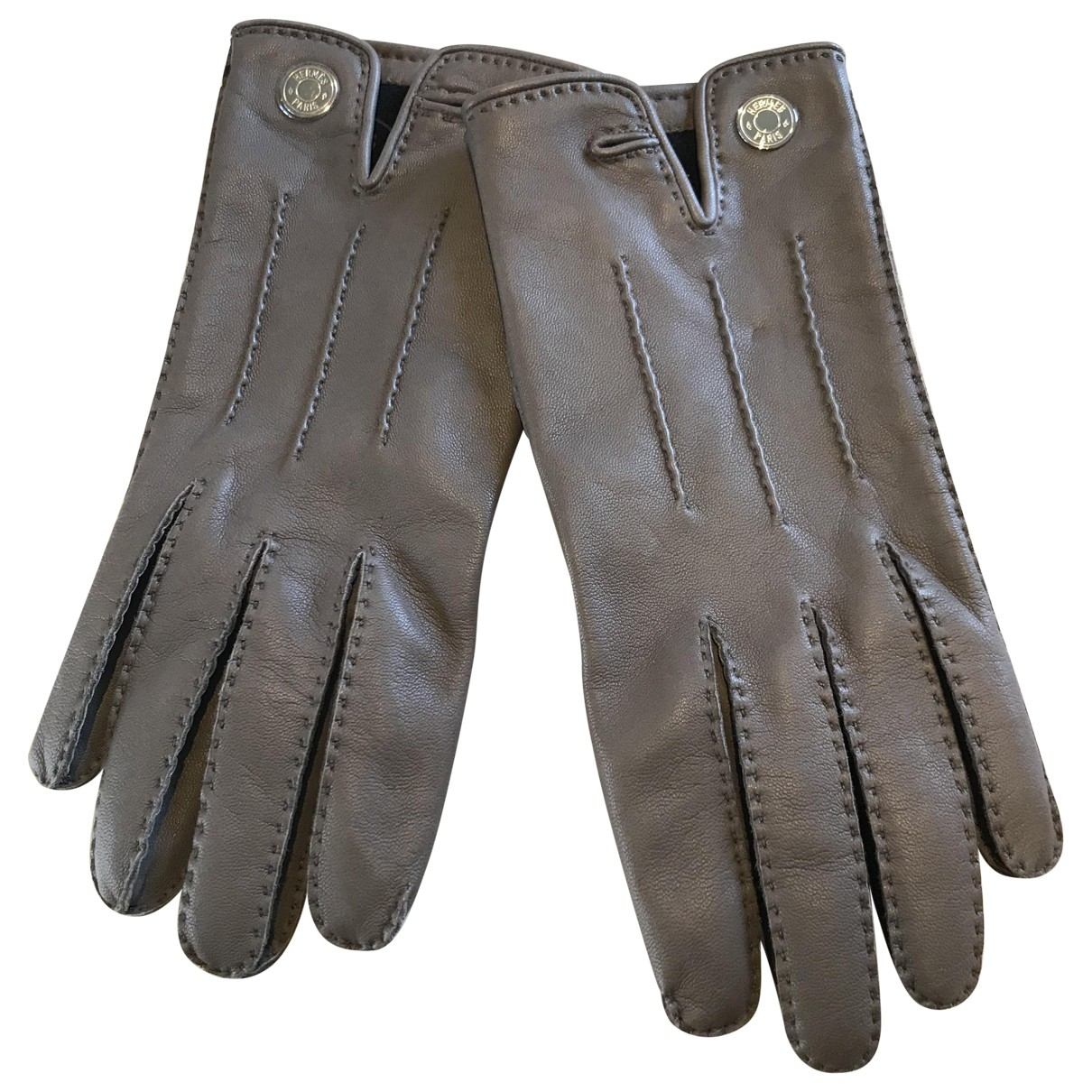 Hermès \N Grey Leather Gloves for Women 7.5 Inches