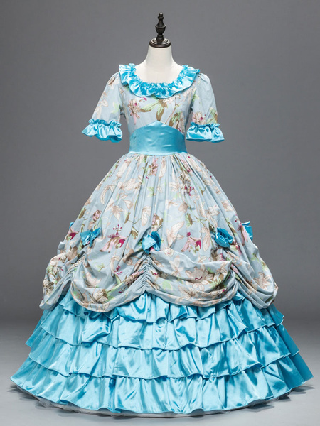Milanoo Victorian Dress Costume Vintage Costume Rococo Royal Blue Lace Trim Ruffles Printed Long Party Dresses Halloween