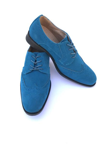 Men's Cap Toe Lace Up Style Indigo Turquoise Teal Dress Shoes Wingtip
